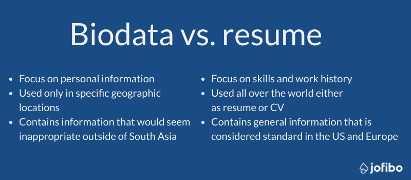 differences between an indian biodata and a classic resume
