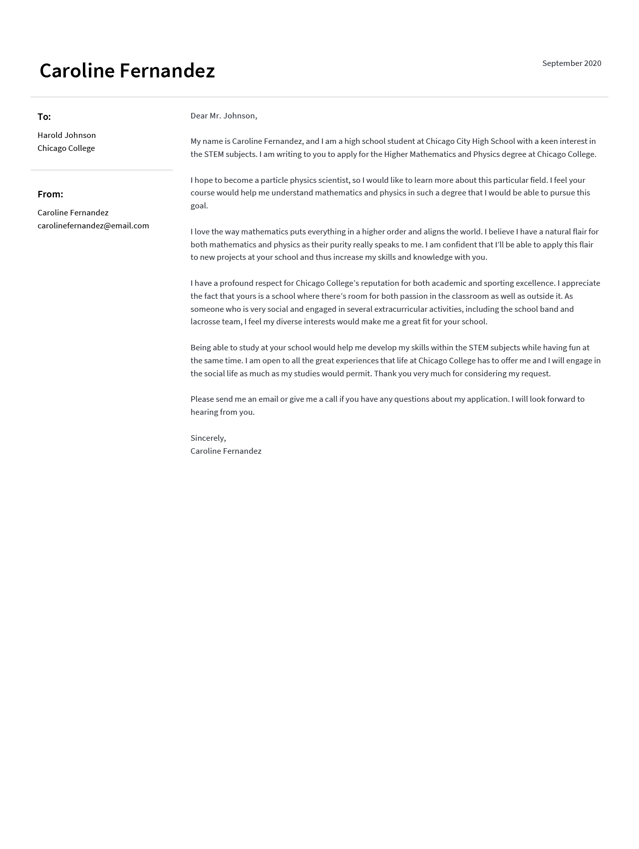A motivation letter example for a college application