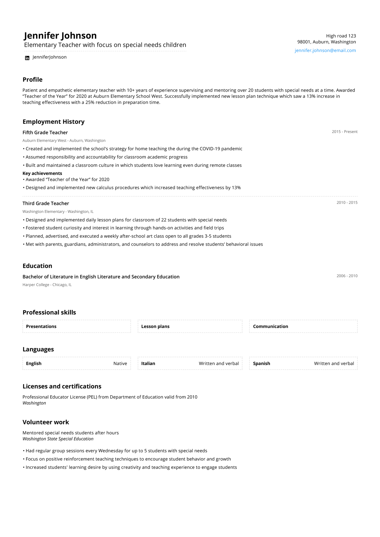 Image of an elementary school teacher resume with more than 10 years of experience