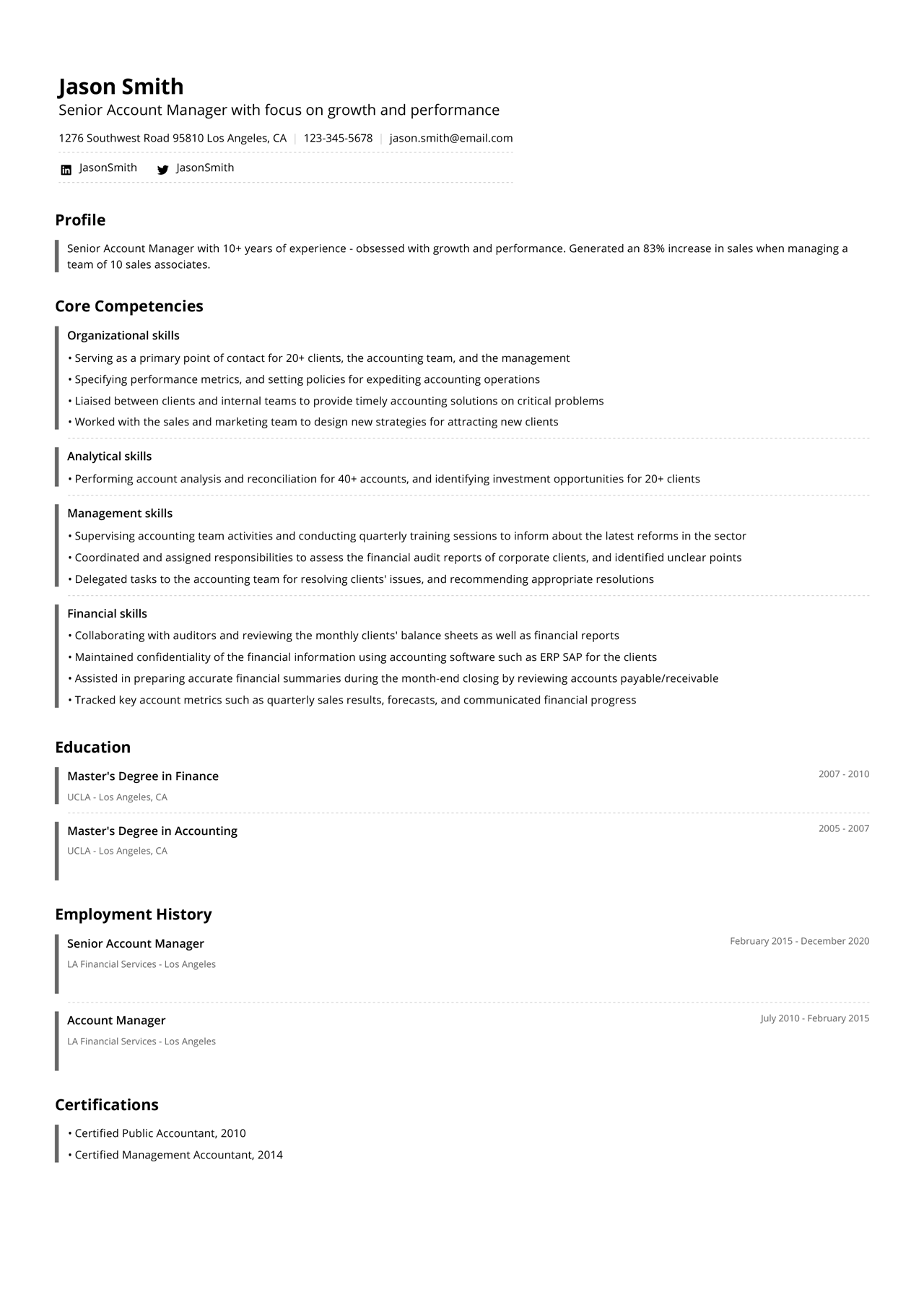 Image of a functional resume example from a senior account manager