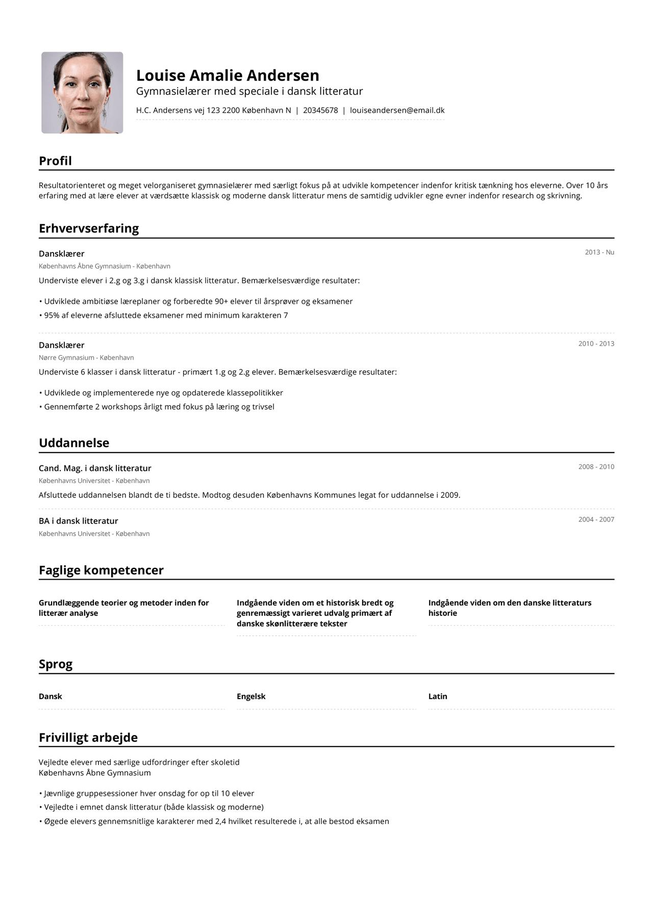 Billede af gymnasielærers CV i omvendt kronologisk rækkefølge