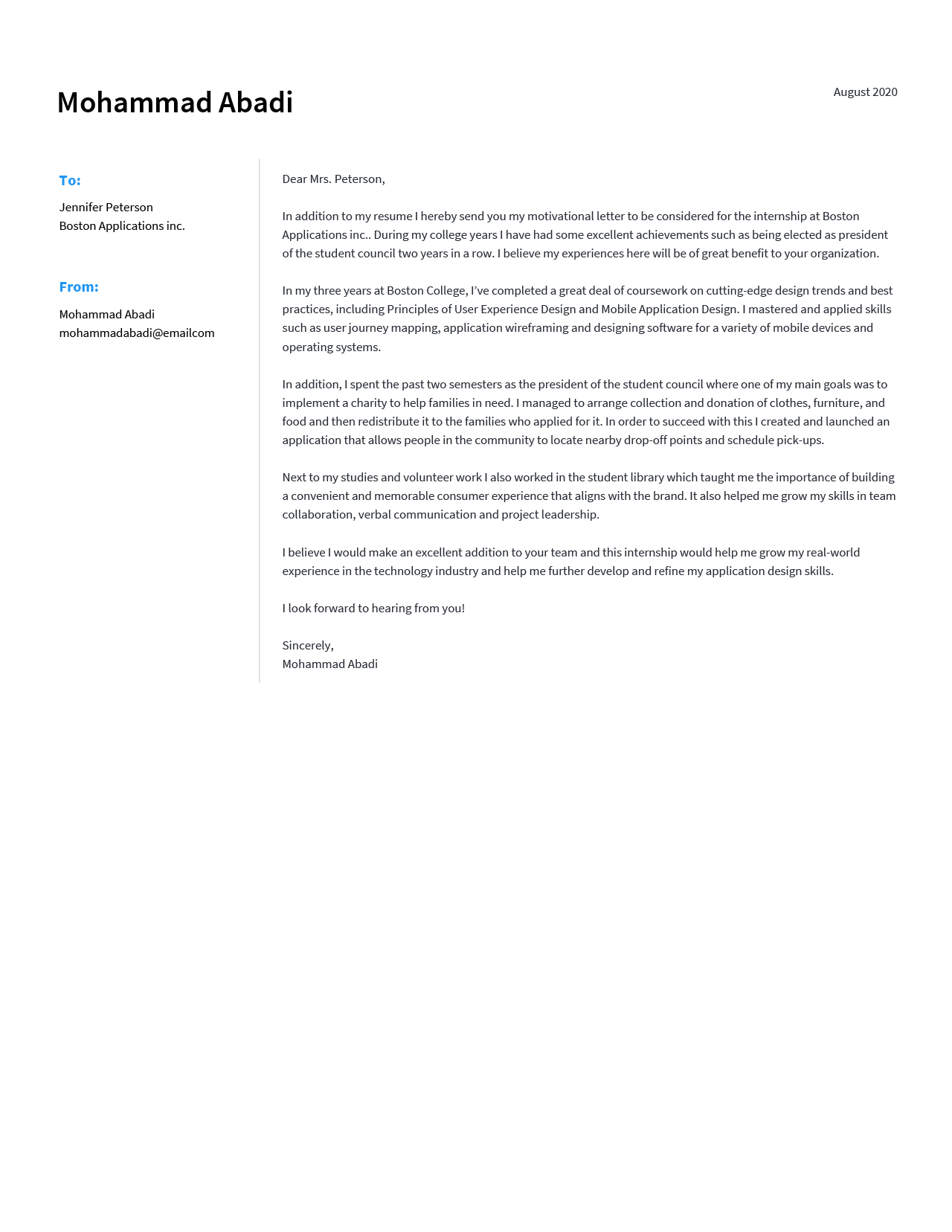 A motivation letter example for an internship application