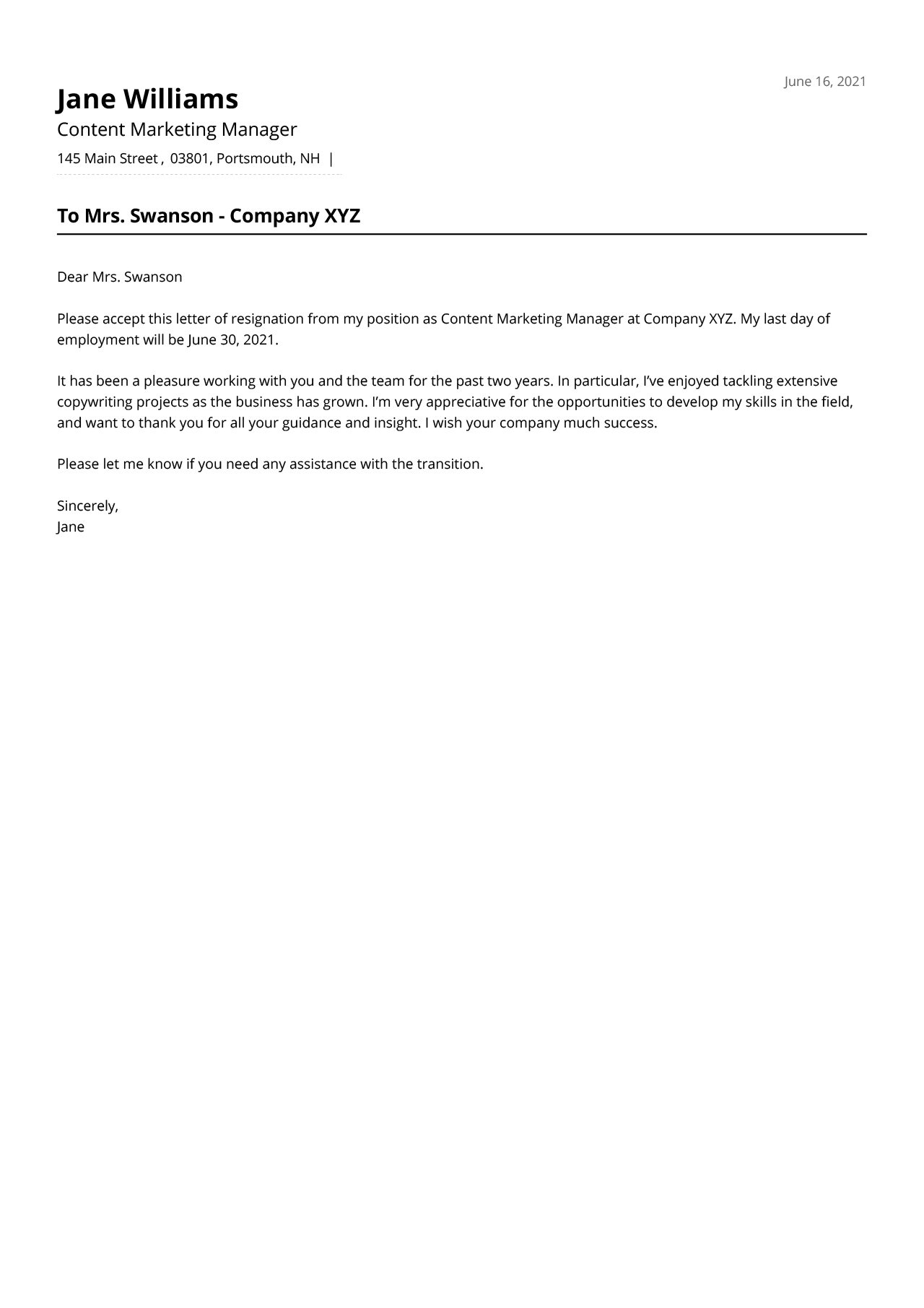 Short, simple, and polite resignation letter example from a content marketing manager