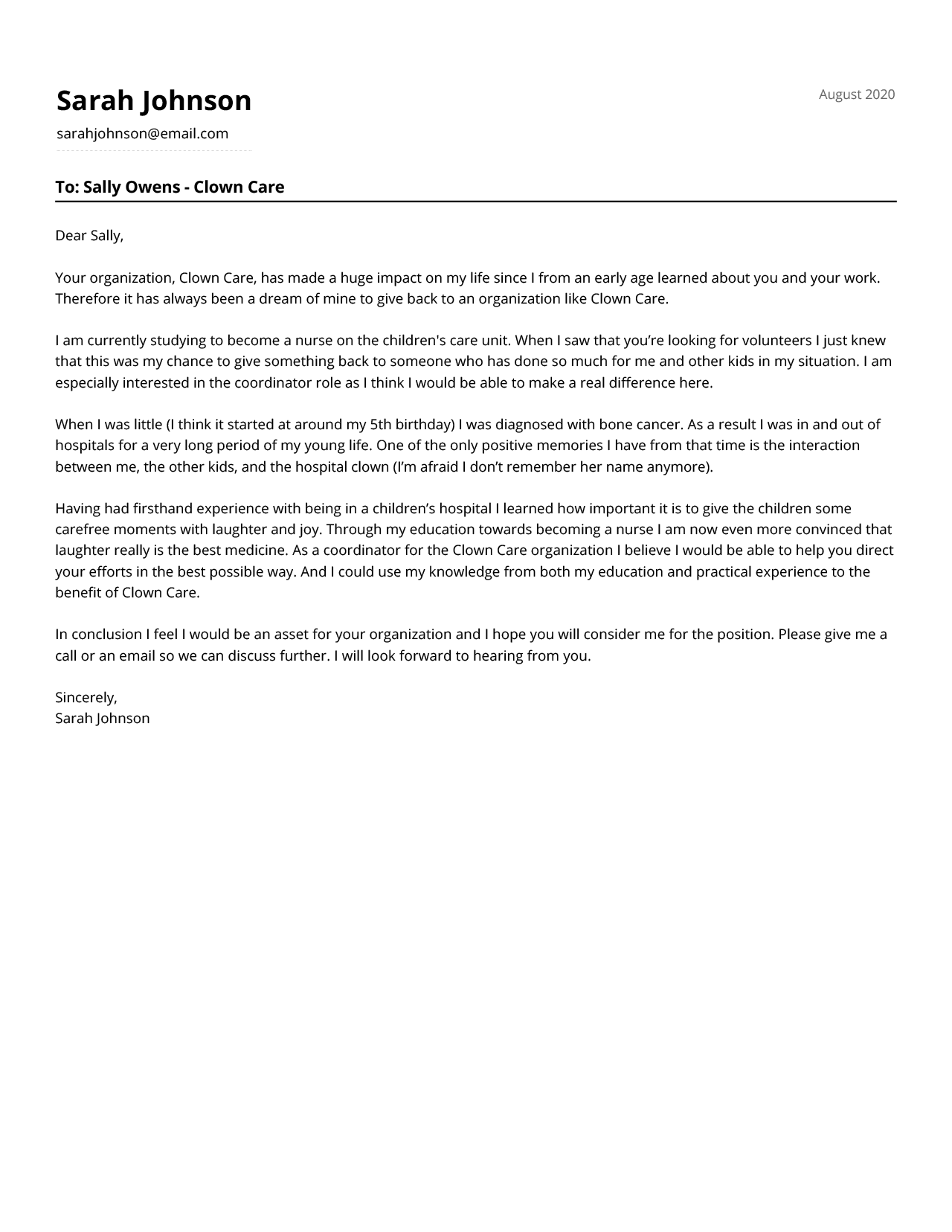 A motivation letter example for a volunteering position