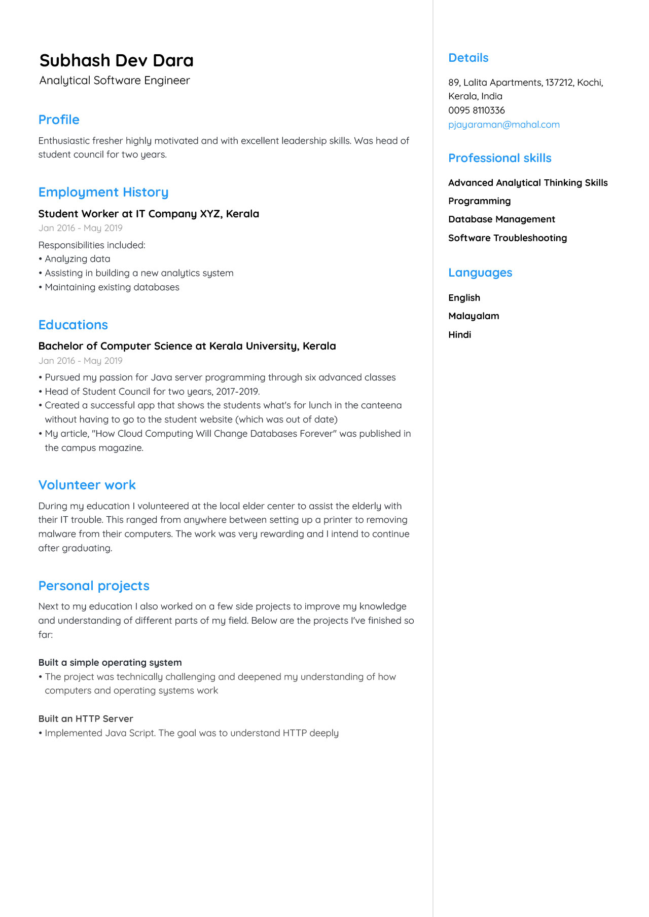 Analytical Software Developer Fresher CV example