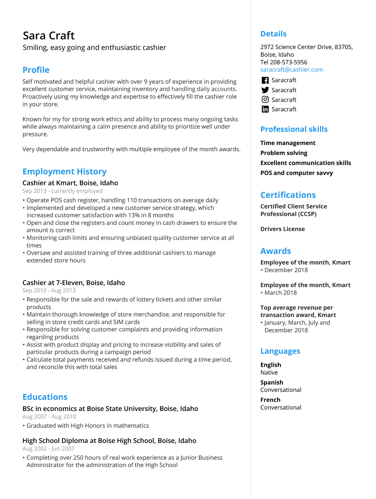 Cashier Resume Sample Template 2020 Guide Jofibo