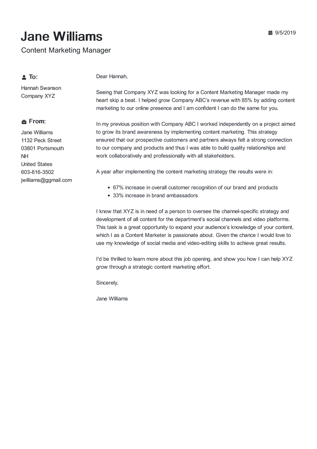 Content Marketing Manager Cover Letter Example