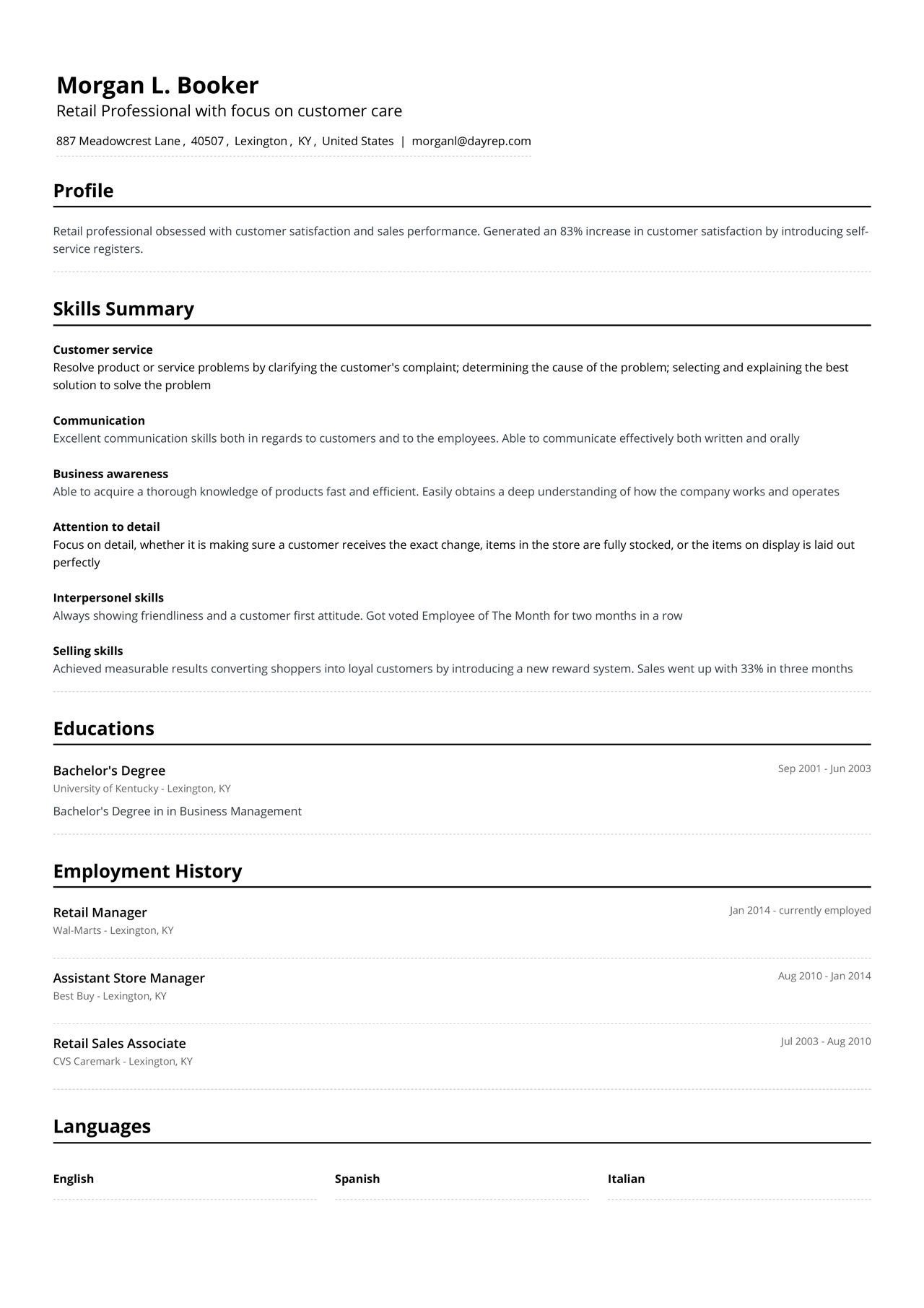 functional CV example