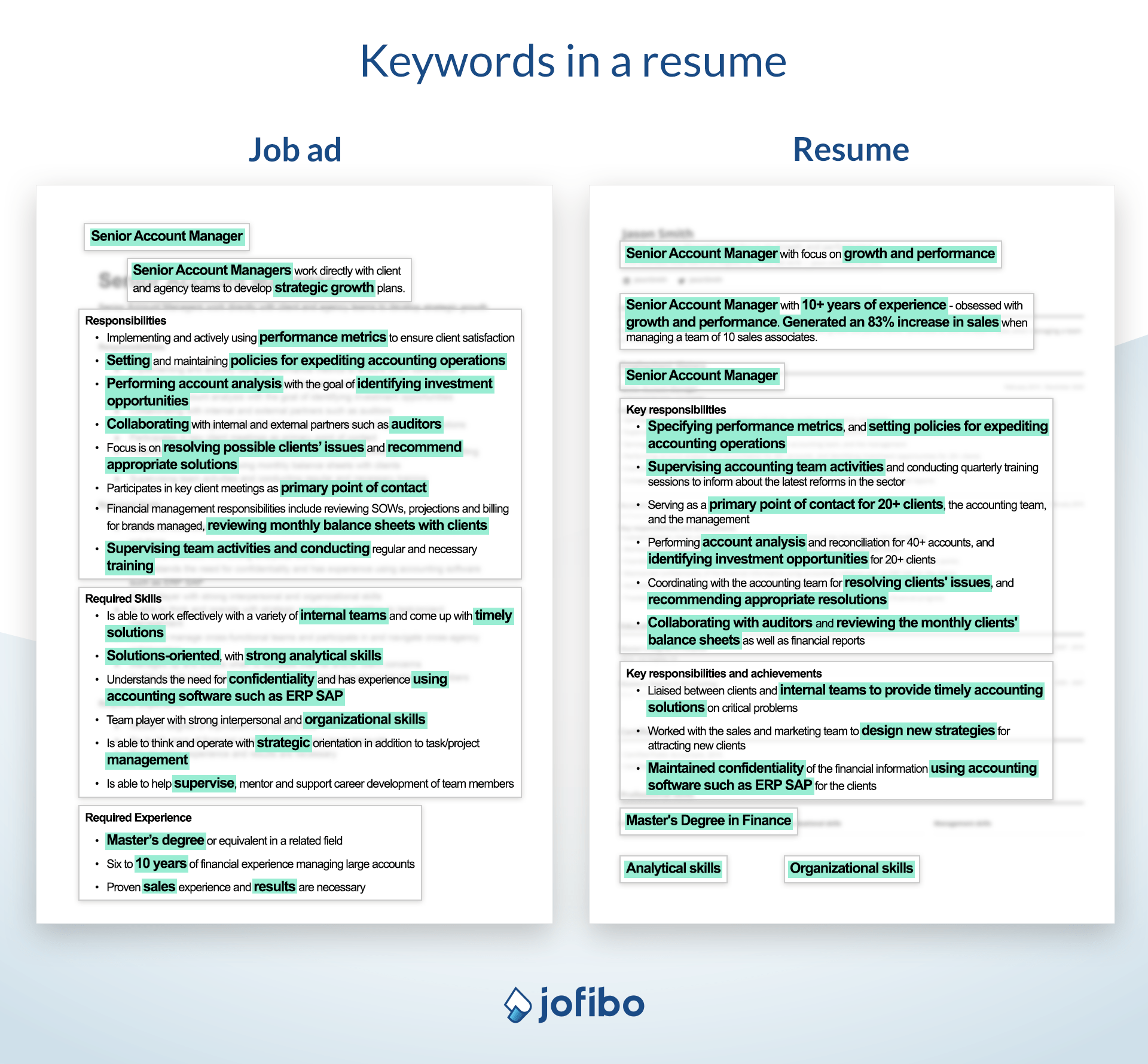 Illustration of how to add keywords from a job ad to your resume