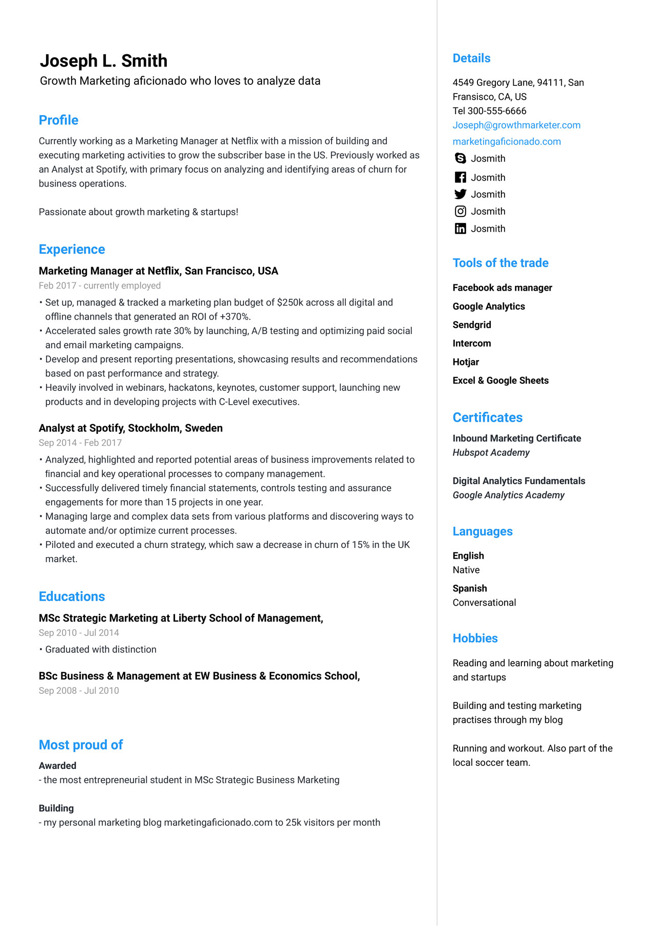 Marketing Manager Resume Example Guide 2020 Jofibo