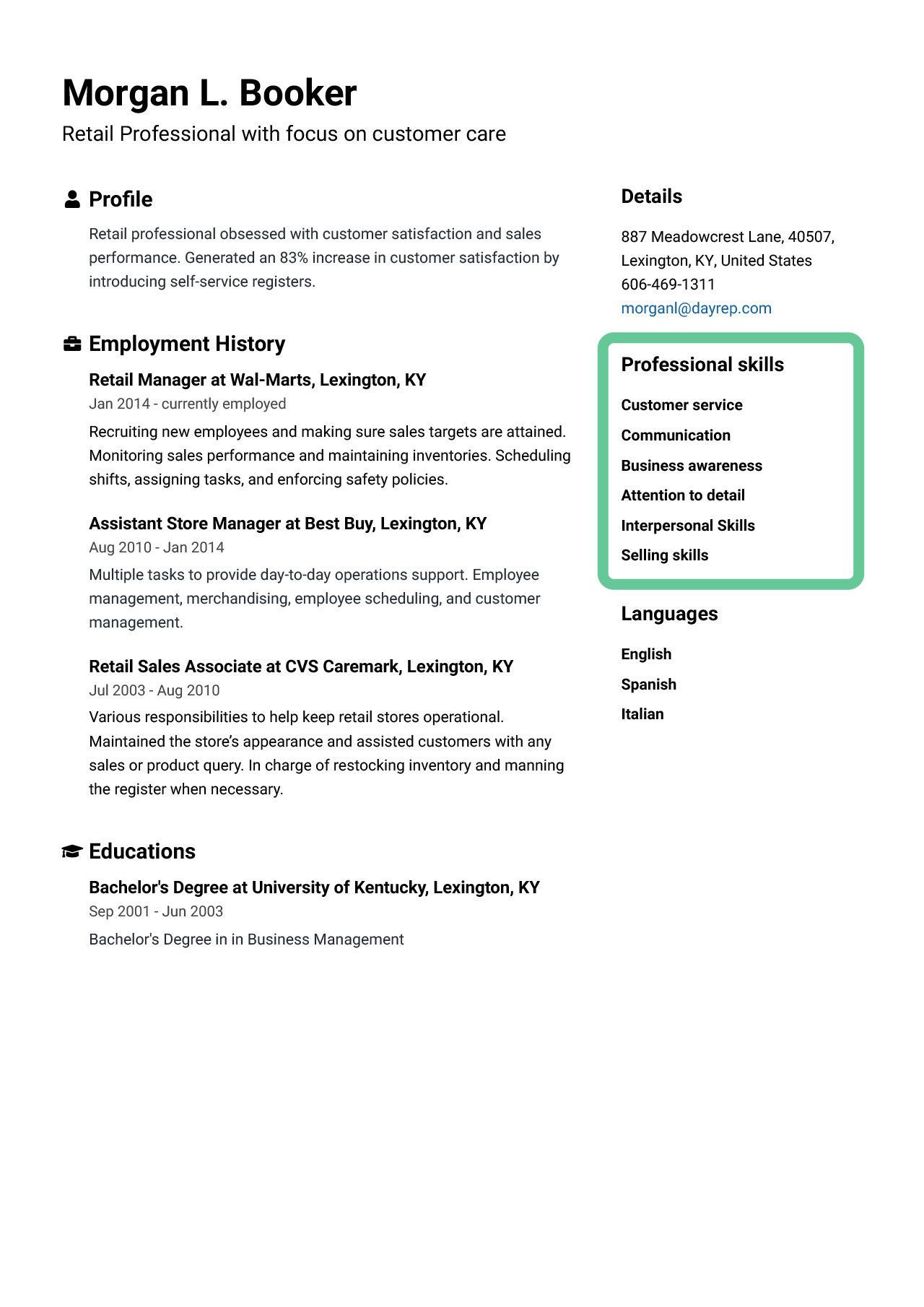 chronological resume with skills on right side